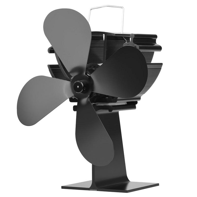 Rantion Heat Powered Stove Fan Fireplace 4 Blade Komin Log Wood Burner Eco Friendly Quiet Fan Home Efficient Heat Distribution