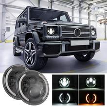 цена на 7 Inch Round LED Headlight Halo Angle Eyes DRL Turn Signal Light For Jeep Wrangler JK LJ TJ CJ SUV Weatherproof 6000K 12-30V