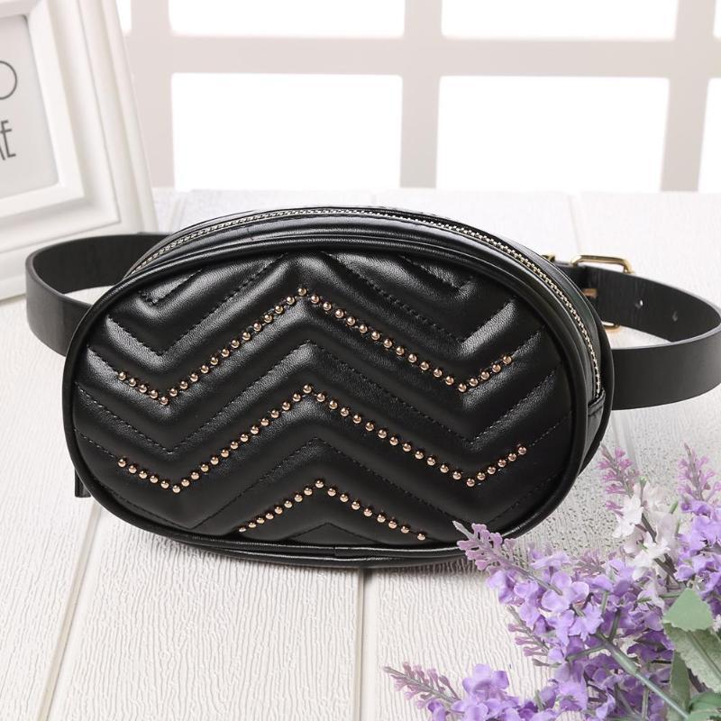 Rivet Decor Women Waist Fanny Belt Packs Pure Color Leather Oval Chest Bags