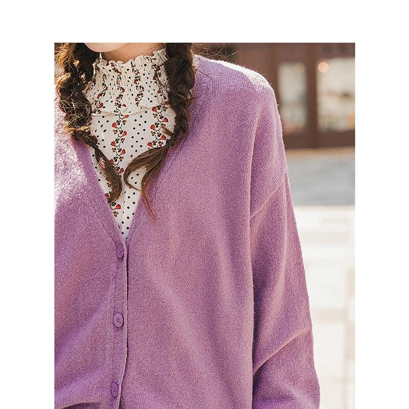 Image 4 - INMAN primavera otoño cuello pico sólido todo emparejado elegante literario minimalismo mujeres CardiganCaquetas de punto   -