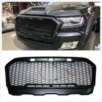 AUTO ACCESSORIES FRONT RACING GRILLE MODIFIED FRONT BUMPERS MASK LED LIGHT GRILL GRILLS FIT FOR RANGER T7 2015 2018 PICKUP PARTS