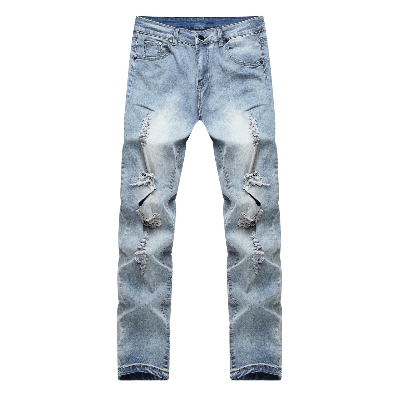 Four Seasons Men With Holes Jeans Men Slim Fit Skinny Pants Youth Korean-style Trend Boy's Casual Pants