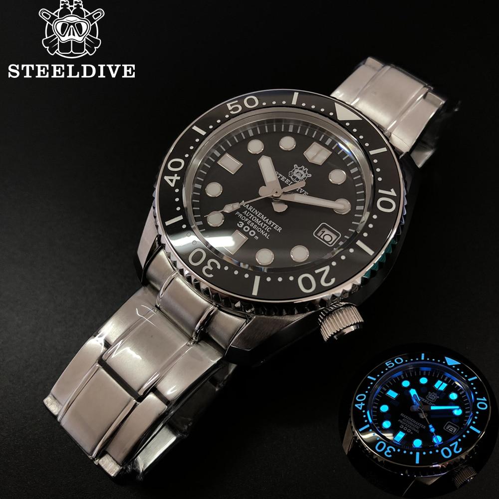 STEELDIVE 1968 ALL-IN-ONE Steel Case Dive Watch Mechanical NH35 Sapphire Watch Men Automatic 300m Diving Watch Man Ceramic Bezel