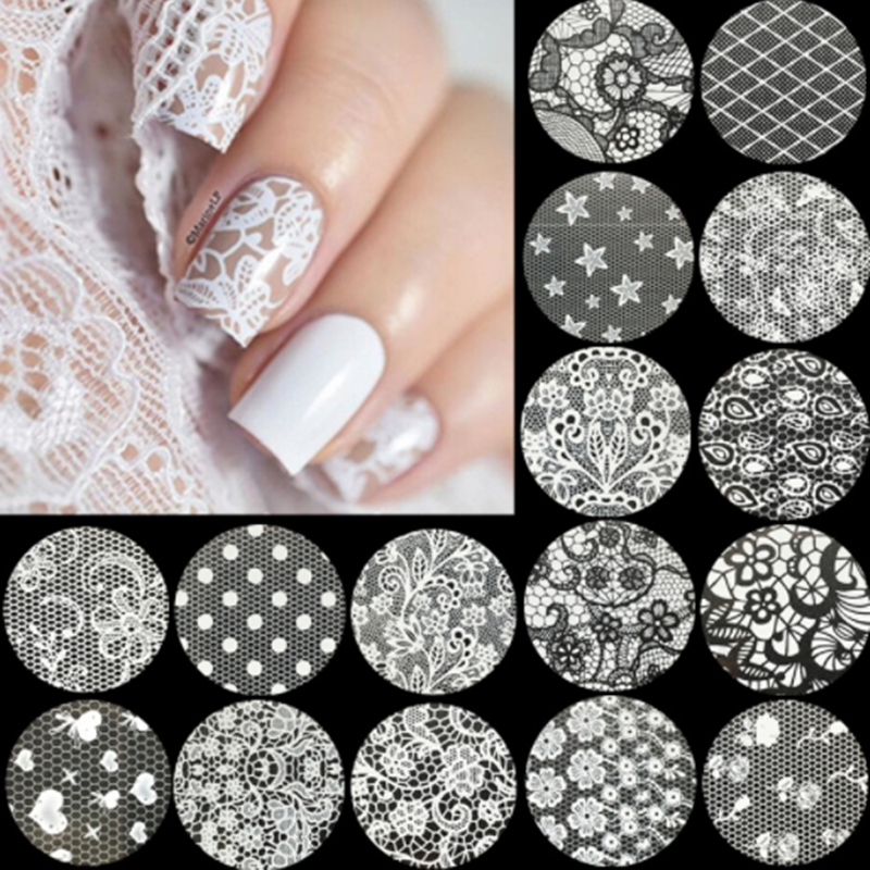 16Pcs 4 Cm X 20 Cm Wit Zwart Kant Nail Art Folie Set Nail Transfer Sticker Papier Diy Manicure nagel Decoratie Accessoires