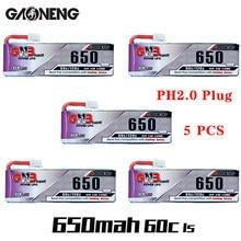 5pcs gaoneng gnb 1s 650mah 3.8v 60c/120c hv lipo bateria ph2.0 plug para tinyhawk snapper7 e010 m80s tiny7 beta85 zangão