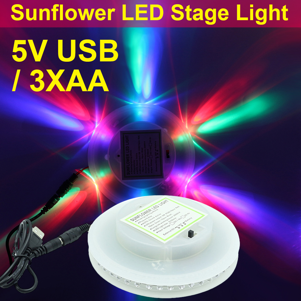 8W Sunflower DJ Light Auto Rotating Sound Music Control LED Stage Light Lamp RGB Party Club Lights Show USB Battery Operated D35