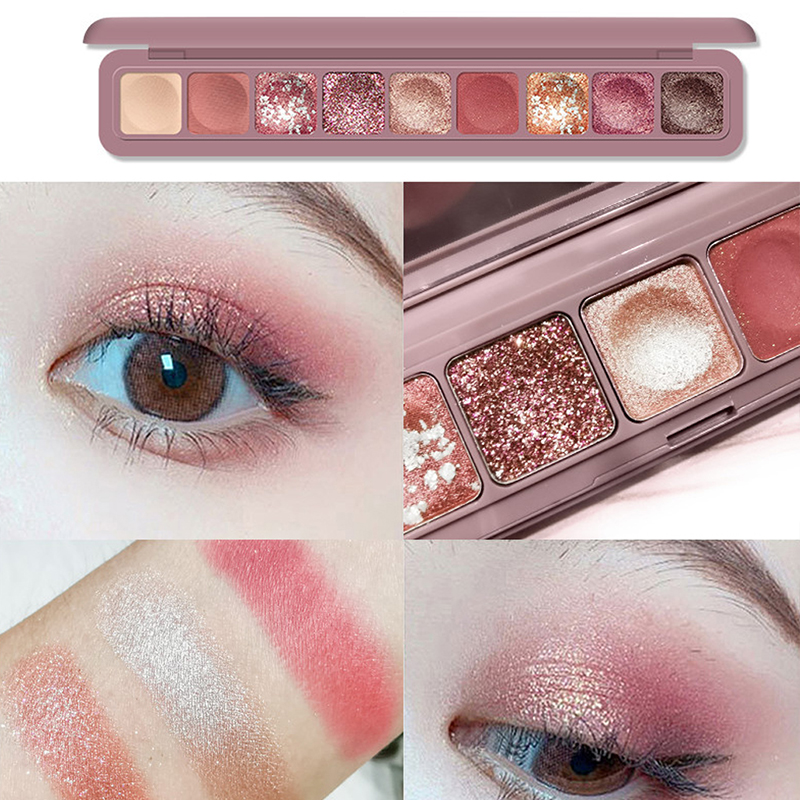 MARC BUSE 9 Color Shimmer Matte Glitter Finger Tip Eyeshadow Palette Nude Pigment Eye Shadow Powder Makeup Diamond Shine Eyelids(China)
