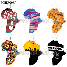 Wooden Earrings One-Side-Printing African-Shape Scenery Drop Natural Creative-Design