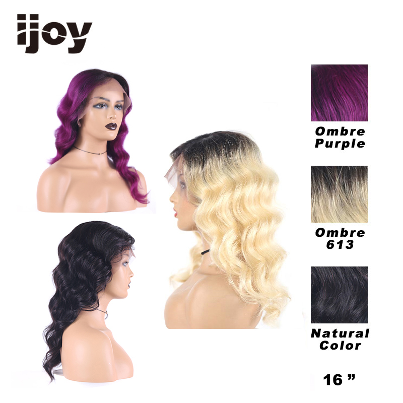 Colored Loose Deep Lace Front Wig 4inchex1cm L Part  Wigs T1B Purple/613 Blonde Ombre Brazilian Human Hair Wig Non-Remy IJOY