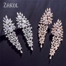 ZAKOL-pendientes colgantes de circonia cúbica para mujer, aretes largos, Zirconia, circonita, zirconita, hoja brillante, boda, boda, FSEP2262