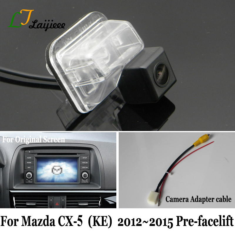 Rear Backup Camera & Adapter Cable For <font><b>Mazda</b></font> <font><b>CX</b></font>-<font><b>5</b></font> CX5 <font><b>CX</b></font> <font><b>5</b></font> 2012 2013 <font><b>2014</b></font> 2015 Pre-facelif OEM Monitor Compatible Reverse Camera image