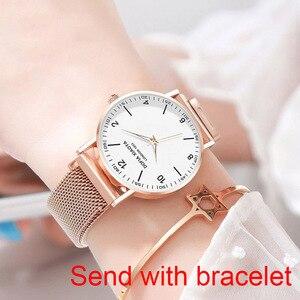 Image 2 - Women Watch Magnetic Rose Gold Starry Sky Watch Luminous 2019 Ladies Stainless Steel Wrist Watch For Waterproof relogio feminino
