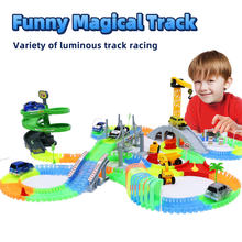 Railway Magical Track Glowing Flexible Car Toys Children Racing Bend Rail DIY Led Electronic Flash Light Toy For Kids