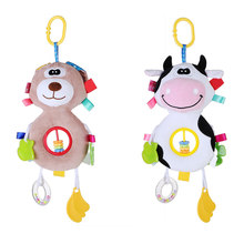 Baby Rattles Toys Cute Animal Doll Baby Crib Bed Hanging Bells Stuffed Toys To Exercise Grip Ability Stroller Hanging Soft Toy(China)