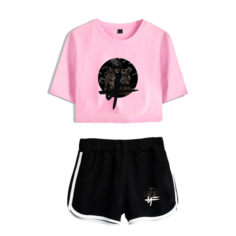 HipHop Rapper Nate Feuerstein New Album The Search NF Print Leisure Women Two Piece Set Shorts+lovely T-shirts Hot Sale Clothes