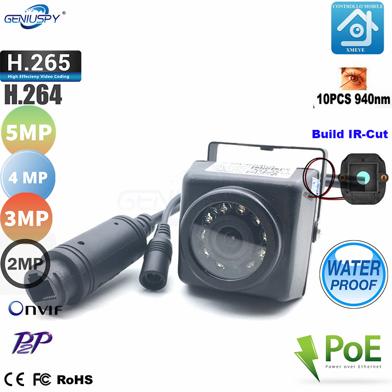 Geniuspy 1080P 3MP 4MP 5MP HD IP66 Waterproof Night Vision IR-Cut 940NM Mini POE IP IR Nest Cam Outdoor Security Camera For Car