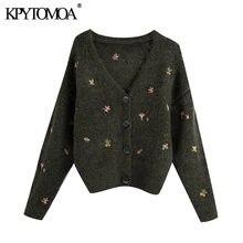 KPYTOMOA-cárdigan bordado Floral de moda para mujer, suéter Vintage de manga larga con botones, prendas de vestir exteriores, Tops Chic, 2020
