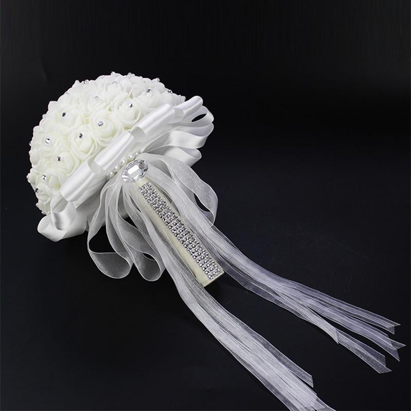 Artificial Wedding Bouquets Hand Made Rose Flower Rhinestone Bridesmaid Bridal Wedding Bouquet de mariage wedding accessories 3