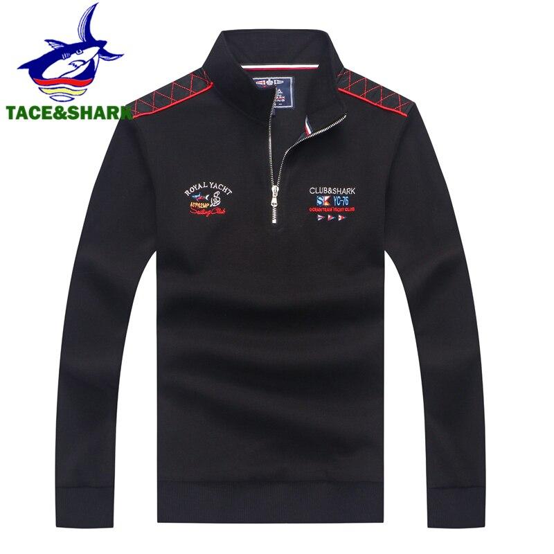 TACE&SHARK 2019 Mens Half Zipper   Polo   Shirt Brands Shark Casual   Polo   Shirts Men Pullover Embroidery   Polo   Shirt Long Sleeve Tops
