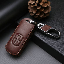 Genuine Leather Car Key Case Fob Cover For Mazda CX5 CX7 CX2 CX9 MX5 2 3 Axela 6 2018 2019 2020 Key Ring Key Holder Accessories(China)