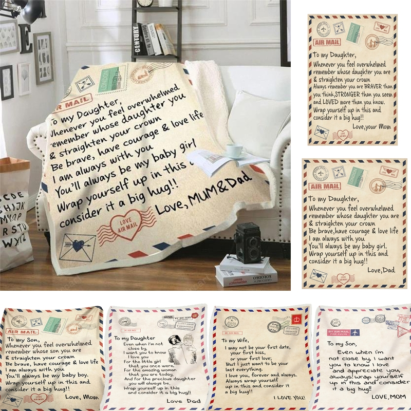 Genteel Fleece Blanket To My Daughter Son Wife Letter Printed Quilts Air Mail Blankets Positive Encourage And Love Gifts