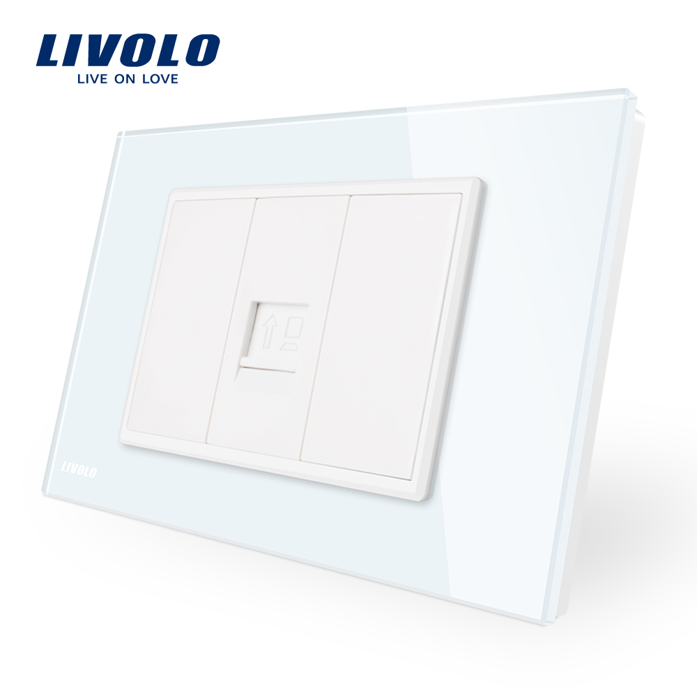 Livolo AU/US Standard One Gang Computer Socket Tel Plate,  With WhitePearl Crystal Glass, SATV,tv Plugs,sound Audio Socket
