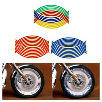 18 inch Motorcycle Wheel Sticker Strips Reflective Decals Tape Bike Car Styling Removable Decal Car Wheel Paste Stickers image