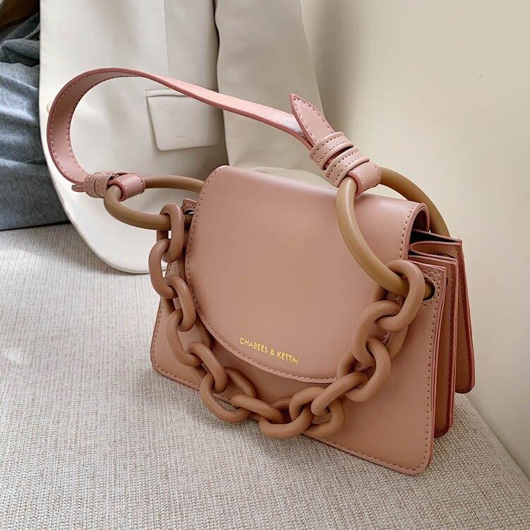 Women's Bag Fat Chains PU Flap Fashion Solid Single Shoulder Bags Luxury Handbags Women Bags Designer Sublimation Blanks