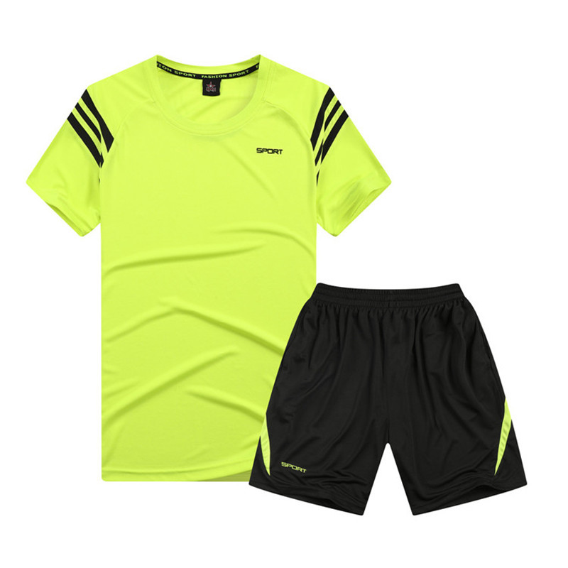 Fitness Suit Men's Quick Drying Clothes Running Sports Set Gym Spring Short Sleeve Fitness Training Clothing Men's Summer