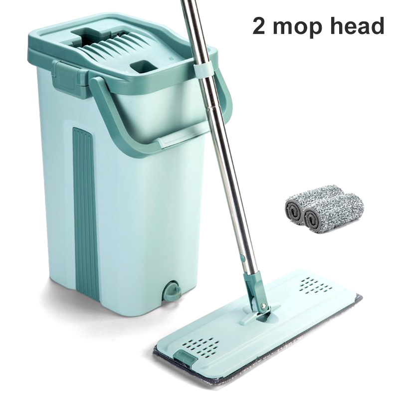 2 in 1 Mops Bucket System for Floor CleaningWash Dry with Flat Fiber Mop Pads