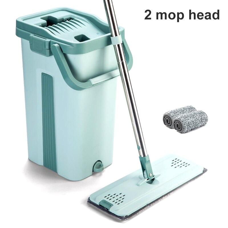 Mop wiadro System do czyszczenia podłóg 2 w 1 umyć suche z telewizorem z płaskim Mop z włókna klocki BJStore