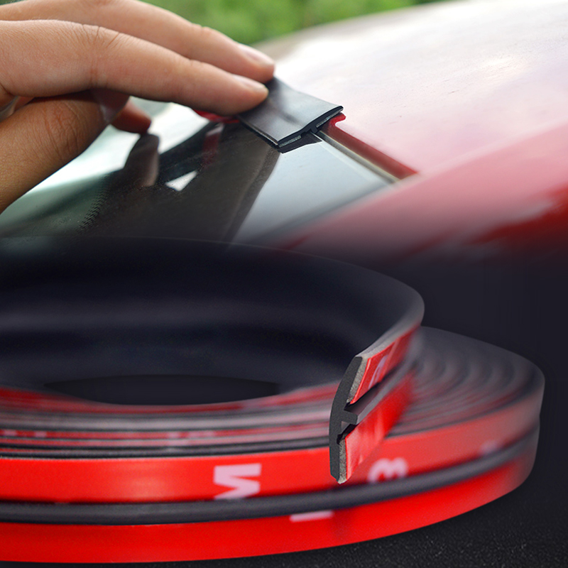 4M Car Roof Protector Seal Noise Insulation Car Door Weatherstrip Front Rear Windshield Edge Sealing Strip Sticker Car Accessory