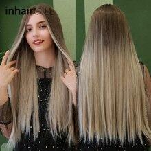 Inhaircube orta kısmı sentetik peruk kadınlar için koyu kahverengi kök uzun düz isıya dayanıklı Cosplay günlük peruk ayarlanabilir sapanlar