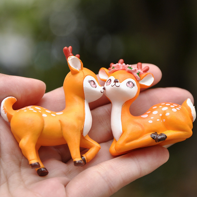 BAIFUOR 1 PC Forest Fairy Animal Sika Deer Fairy Garden Mini Figures Home Decoration Accessories Modern Christmas Gift Kid Toy 3