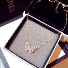 Ins venda quente chegam novas zircônia borboleta colar charme bling cz rosa ouro borboleta jóias pingente bijoux para mulher menina