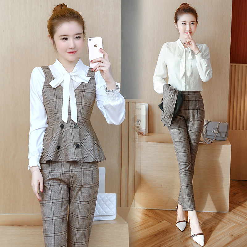 Commuting Wear Graceful European Goods Fashion Fashionable Three-piece Set Plaid Camisole Casual Pants WOMEN'S Suit