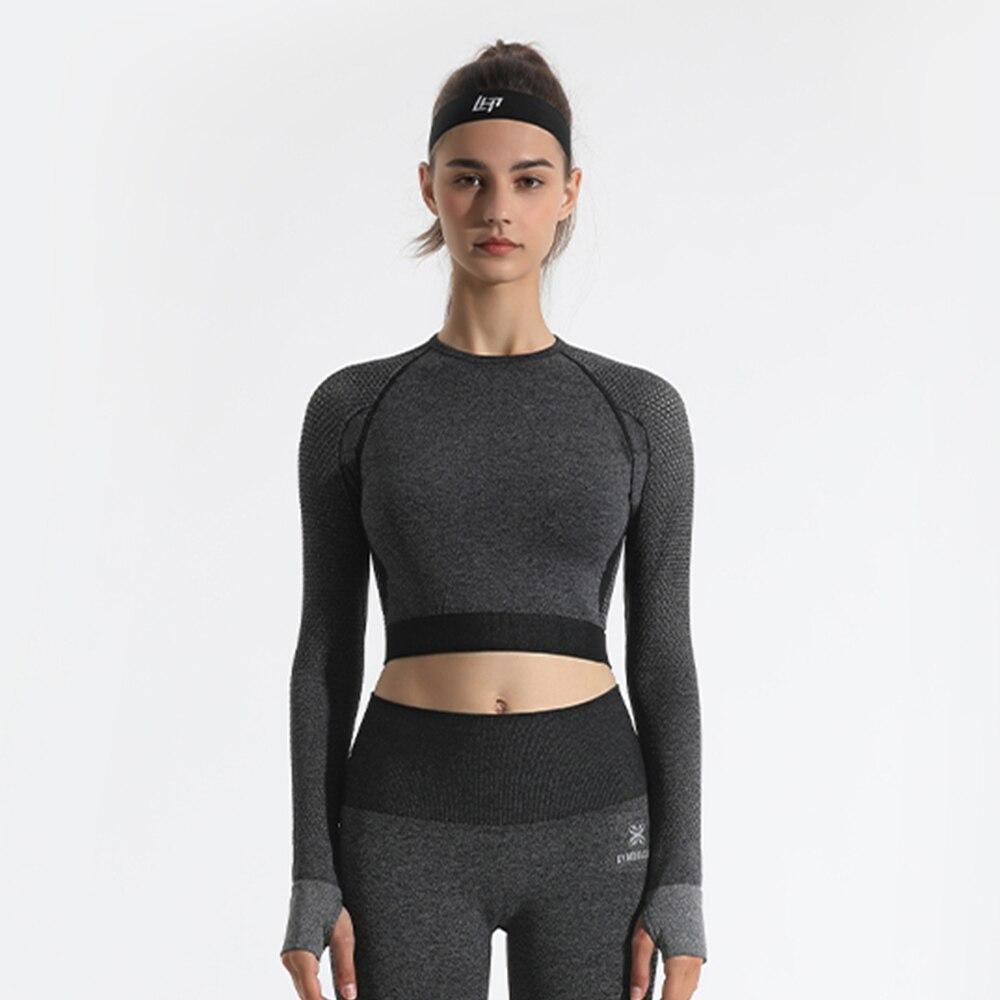 GYMQUASAR-Ropa deportiva sin costuras para mujer, Top corto de cintura alta para Yoga, entrenamiento, gimnasio, manga larga, Fitness, correr