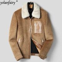 Autumn Winter Jacket Men Mink Fur Collar Real Wool Coat Vicugna Woolen Coats Streetwear Mens Jacket and Coat F XK 8919 MY1898