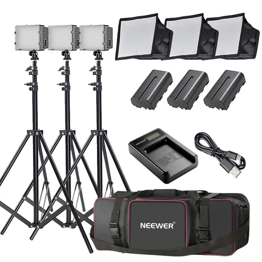 USB Battery Charger 3 Light Stand Bag LED Softbox 3 1 Li-Ion Battery Replacement for SONY NP-F550 F570 CN-160 LED Light Neewer 3x 160 LED Dimmable Light Kit Includes: 1 3 3