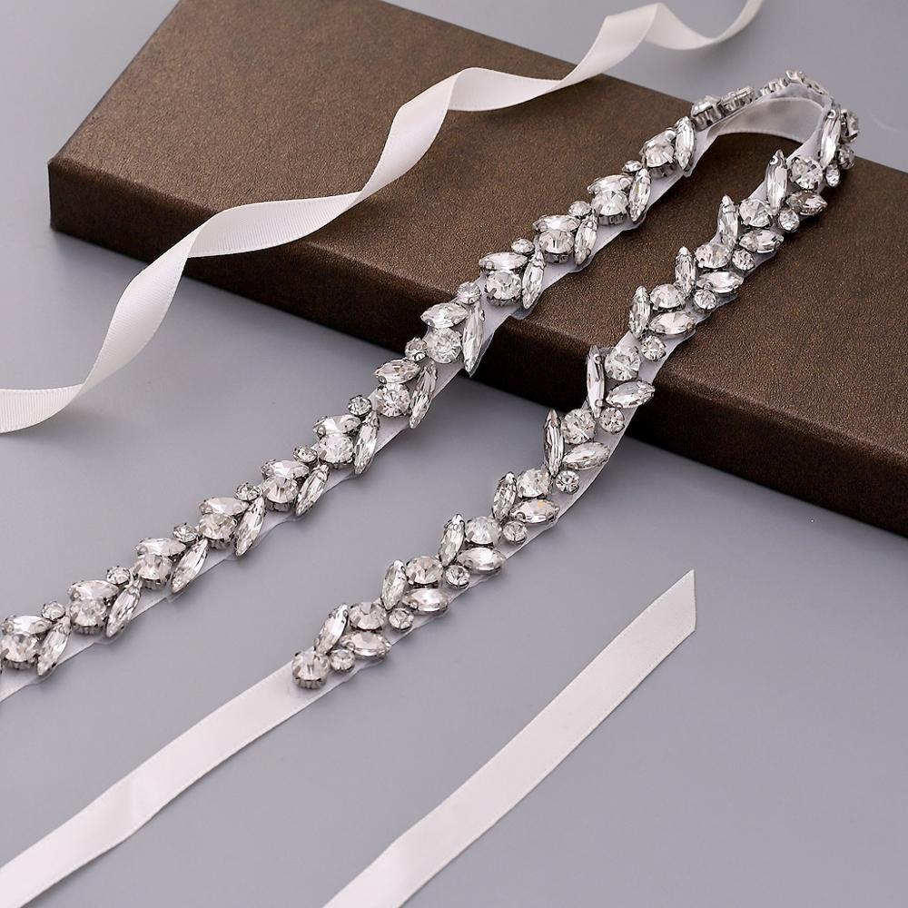 S468 Luxury Wedding Sash Bridal Belts Shiny Belt Formal Silver Accessories Women Belt Satin Alloy Leaf Evening Dresses Belt