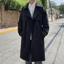Trench-Coat Korean-Style Windbreaker Vintage Waterproof Long VERSMA White Youth for Men