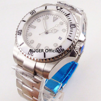 BLIGER 44mm White Sterile Big Dial Men's Watch Ceramic Rotating Bezel Steel Watchcase Luminous Automatic Movement Wristwatch