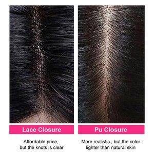 Image 5 - Unice Hair 4x4 PU إغلاق مزود بقاعدة من الحرير البرازيلي شعر مموج إغلاق الدانتيل الطبيعي الأسود ريمي الشعر البشري 10 18 Inch