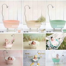 Dvotinst Newborn Photography Props Iron Bathtub Shower Bucket for Baby Photo Shooting