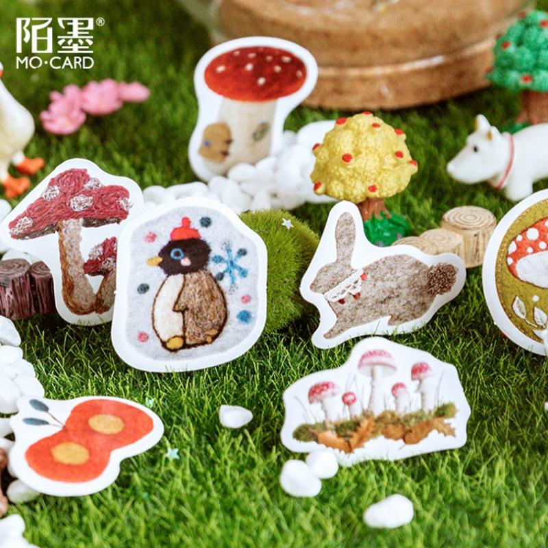 46Pcs/pack Cute Felt Handicraft Museum DIY Diary Album Decorative Scrapbooking Paper Sticker Label Sticker School Gift