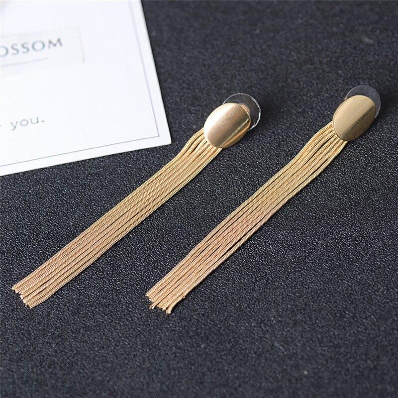 Luxury Gold Color Metal Long Chain Tassel Drop Earrings Punk Style Women Dangle Earrings Party Jewelry 2019 New 18