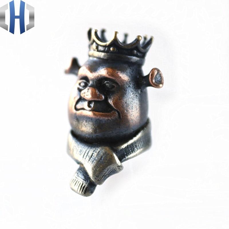 EDC Tools Brass King Shrek Lanyard Bead Paracord Pendant Knife Tool EDC Knife Beads