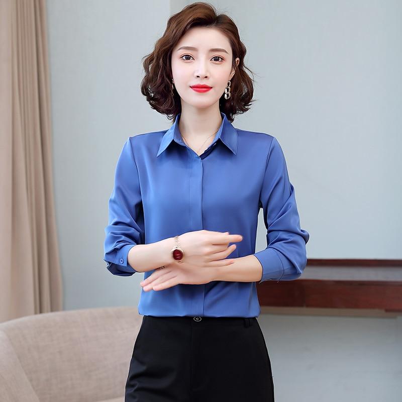 Korean Women Shirts White Silk Shirt for Women Satin Blouse Woman Long Sleeve Shirts Silk Blouses Woman Blouse OL Tops Plus Size