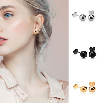 1Pair Women Round Stud Earrings Solid Black Sliver Gold Color Earring Girls Simple Aretes Fashion Design Jewelry Accessories image