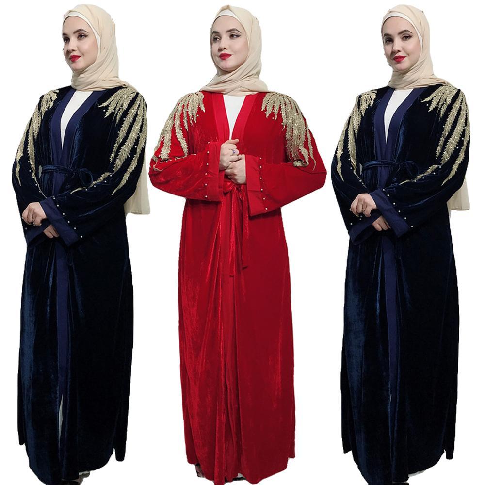 Dubaï Abaya velours robe à manches longues femmes musulmanes ouvert Kimono Jilbab caftan vêtements islamiques perles arabes Cardigan luxe Abayas